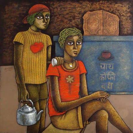 Figurative Acrylic Art Painting title Chotu 4 by artist Ramchandra B Pokale