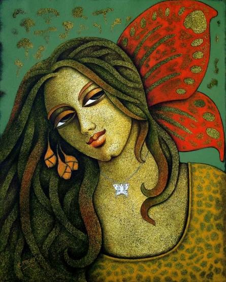 Figurative Acrylic Art Painting title Yauvana 14 by artist Ramchandra B Pokale