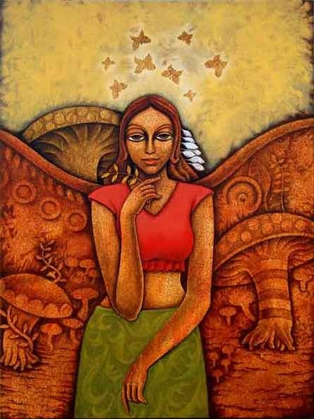 Figurative Acrylic Art Painting title Yauvana 26 by artist Ramchandra B Pokale