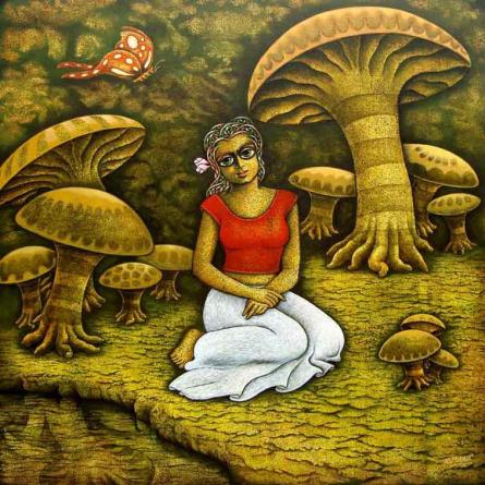 Figurative Acrylic Art Painting title Yuvana 5 by artist Ramchandra B Pokale