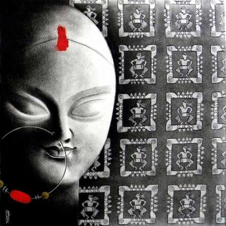 Religious Charcoal Art Drawing title 'Devi 19' by artist Uttara Joshi