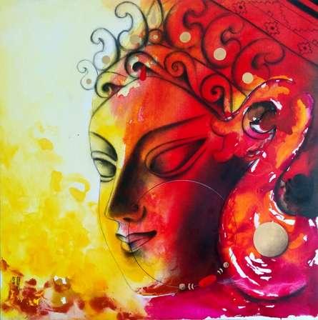 Figurative Mixed-media Art Painting title 'Devi 33' by artist Uttara Joshi