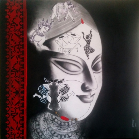 Figurative Mixed-media Art Painting title 'Devi 35' by artist Uttara Joshi