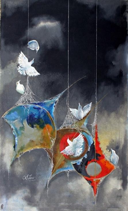 Fantasy Acrylic Art Painting title 'The joy of kites and birds' by artist Shiv Kumar Soni