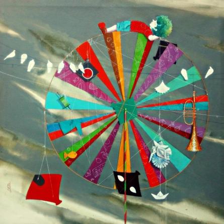 Surrealist Acrylic Art Painting title 'Childhood Passion Iii' by artist Shiv Kumar Soni
