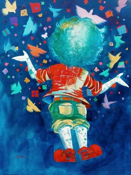 Figurative Acrylic Art Painting title 'The imaginations of childhood' by artist Shiv Kumar Soni