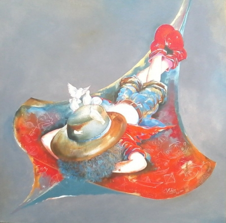Figurative Acrylic Art Painting title 'Puppy swinging with kite' by artist Shiv Kumar Soni