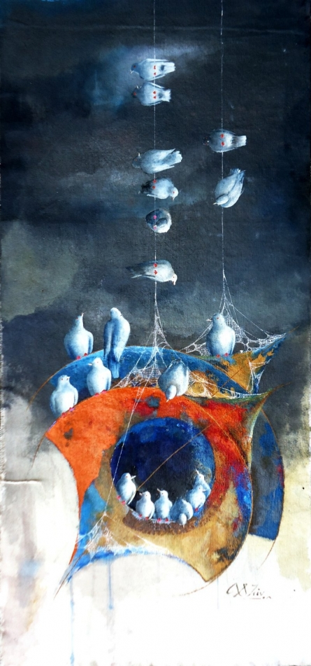 Fantasy Mixed-media Art Painting title 'Play of kites and birds' by artist Shiv Kumar Soni