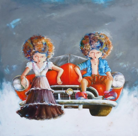 Figurative Acrylic Art Painting title Puppy and chicky on the drive by artist Shiv Kumar Soni