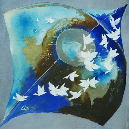 Kite and birds blue | Painting by artist Shiv Kumar Soni | acrylic | Canvas