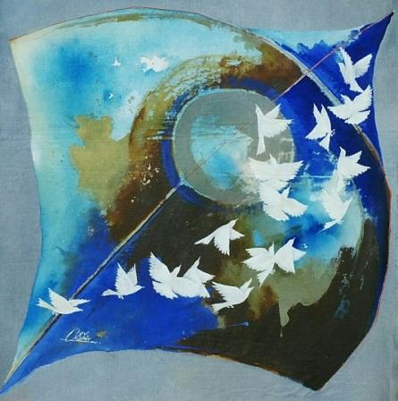 Kite and birds blue | Painting by artist Shiv Kumar Soni | Acrylic | Canvas