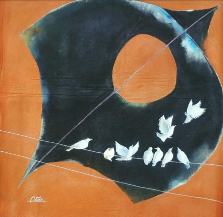 Animals Acrylic Art Painting title 'Black kite and birds' by artist Shiv Kumar Soni
