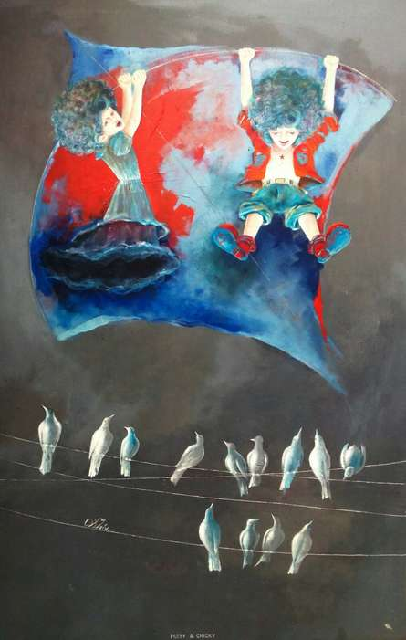 Fantasy Acrylic Art Painting title The childhood swinging with kite by artist Shiv kumar Soni