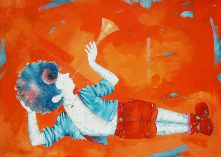 Shiv Kumar Soni | Acrylic Painting title The golden childhood on Canvas | Artist Shiv Kumar Soni Gallery | ArtZolo.com
