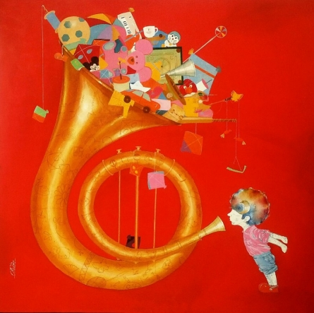 Shiv Kumar Soni | Acrylic Painting title The childhood on Canvas | Artist Shiv Kumar Soni Gallery | ArtZolo.com