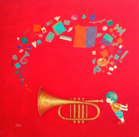 Figurative Acrylic Art Painting title 'The memories of childhood' by artist Shiv Kumar Soni