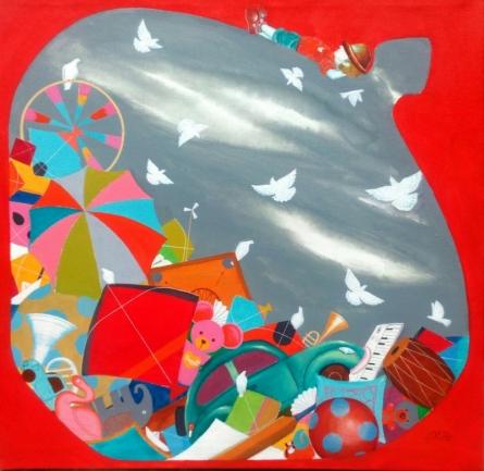 The treasure of childhood ii | Painting by artist Shiv Kumar Soni | acrylic | Canvas