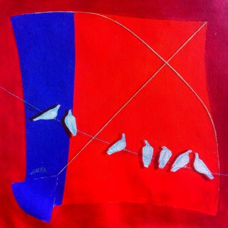 Still-life Acrylic Art Painting title 'kite and birds viii' by artist Shiv Soni