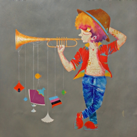 Shiv Kumar Soni | Acrylic Painting title Memories Of The Childhood Xvi on Canvas | Artist Shiv Kumar Soni Gallery | ArtZolo.com