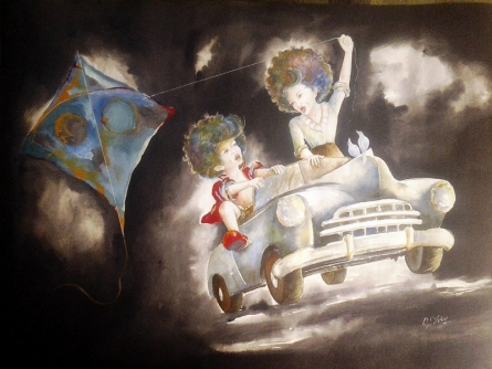 Puppy and chicky on the drive | Painting by artist Shiv Kumar Soni | mixed-media | Canvas