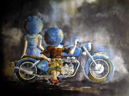 Shiv Kumar Soni Paintings | Mixed-media Painting - Puppy and chicky on with bike by artist Shiv Kumar Soni | ArtZolo.com