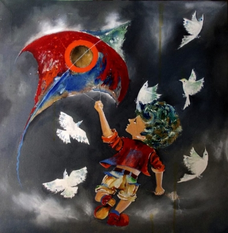 Shiv Kumar Soni Paintings | Acrylic Painting - Puppy flying kite by artist Shiv Kumar Soni | ArtZolo.com