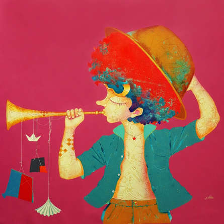 Lifestyle Acrylic Art Painting title 'The Childhood 26' by artist Shiv Kumar Soni