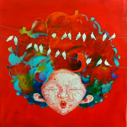 Abstract Acrylic Art Painting title 'The Childhood Vi' by artist Shiv Soni
