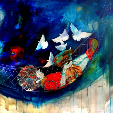 Shiv Soni | Mixed-media Painting title The Swinging Childhood Ii on Canvas | Artist Shiv Soni Gallery | ArtZolo.com