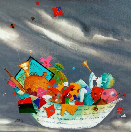 Motivational Acrylic Art Painting title 'Treasure Of The Childhood Iii' by artist Shiv Soni