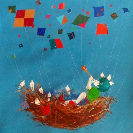 Realistic Acrylic Art Painting title 'Treasure Of The Childhood Ix' by artist Shiv Soni