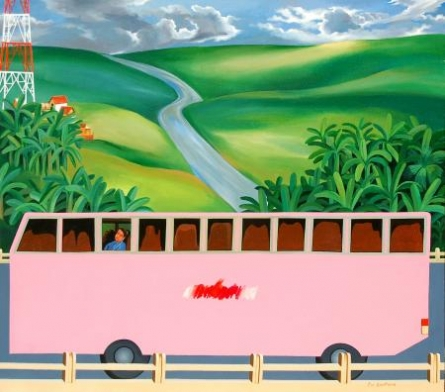 Alone In The Bus | Painting by artist Goutam Pal | acrylic | Canvas