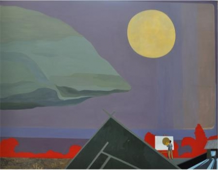 Full Moon In My Village | Painting by artist Goutam Pal | acrylic | Canvas