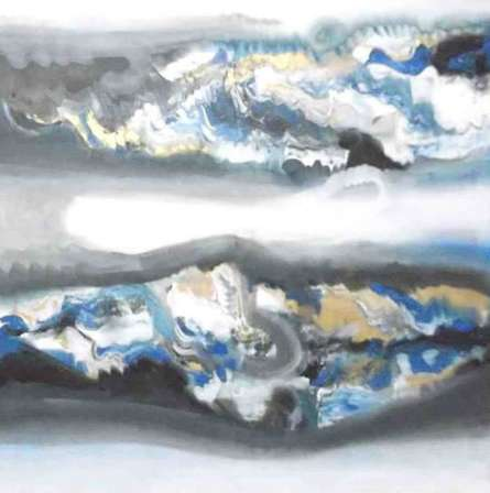 Abstract Acrylic Art Painting title Blue Horizontal Abstract by artist Deepak Guddadakeri