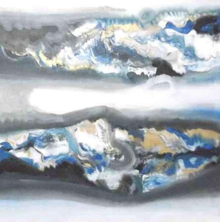 Blue Horizontal Abstract   Painting by artist Deepak Guddadakeri   acrylic   Canvas