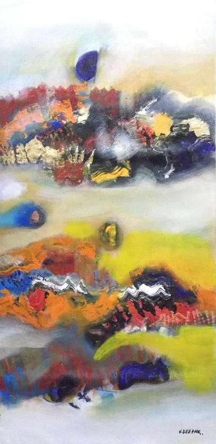 Abstract Acrylic Art Painting title 'Colorful Abstract I' by artist Deepak Guddadakeri
