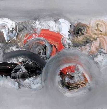 Abstract Acrylic Art Painting title 'Grey Nature' by artist Deepak Guddadakeri
