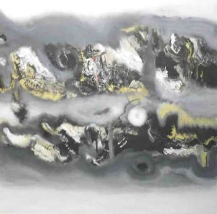 Deepak Guddadakeri Paintings | Acrylic Painting - Grey Yellow Horizontal Abstract by artist Deepak Guddadakeri | ArtZolo.com