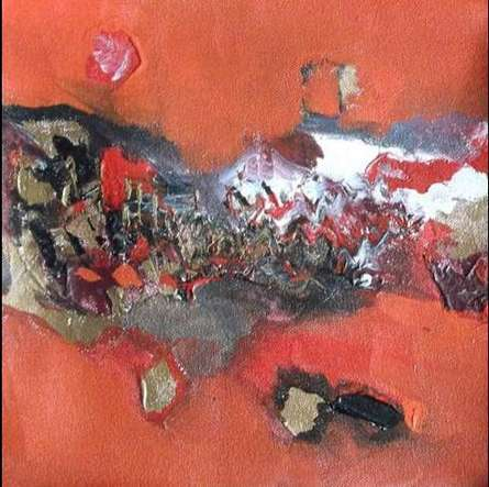 Abstract Acrylic Art Painting title 'Red Abstract' by artist Deepak Guddadakeri