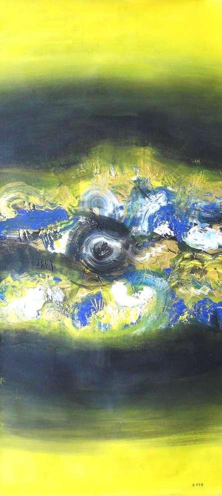 The Yellow Eye | Painting by artist Deepak Guddadakeri | acrylic | Canvas