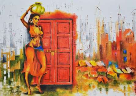 Tejinder Ladi Singh Paintings | Oil-pastel Painting - Enter At Your Own Risk by artist Tejinder Ladi Singh | ArtZolo.com