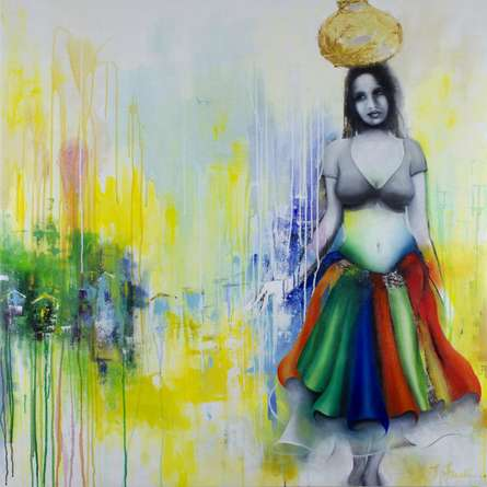 Figurative Mixed-media Art Painting title Staring Into The Void 5 by artist Tejinder Ladi Singh