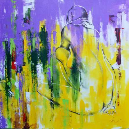 Abstract Mixed-media Art Painting title 'Urban Jungle 14' by artist Tejinder Ladi Singh