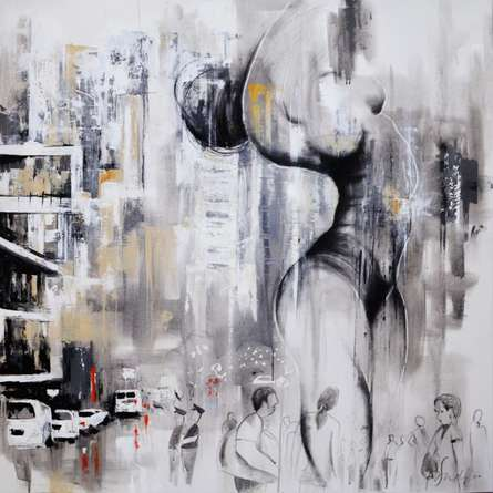 Urban Jungle 15 | Painting by artist Tejinder Ladi  Singh | mixed-media | Canvas