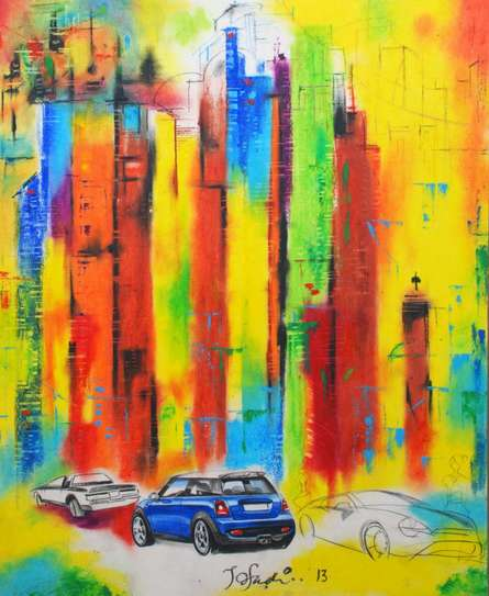 Cityscape Mixed-media Art Painting title 'Urban Jungle 6' by artist Tejinder Ladi Singh