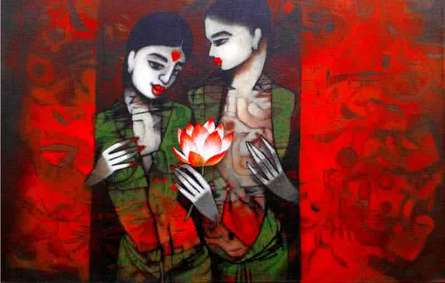 Girl With Flower | Painting by artist Mukesh Salvi | acrylic | Canvas