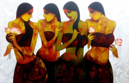 Figurative Acrylic Art Painting title 'Four Girls' by artist Mukesh Salvi