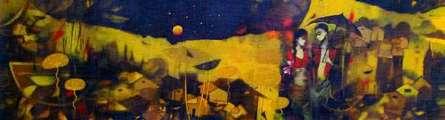 Figurative Acrylic Art Painting title 'Underneath the Stars' by artist Mukesh Salvi