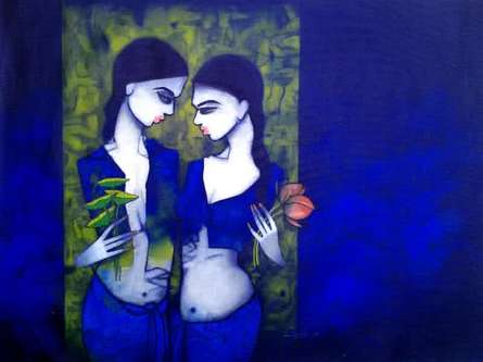Figurative Acrylic Art Painting title 'Girls in Blue' by artist Mukesh Salvi