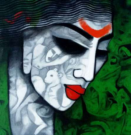 Tribal Girl II | Painting by artist Mukesh Salvi | acrylic | Canvas